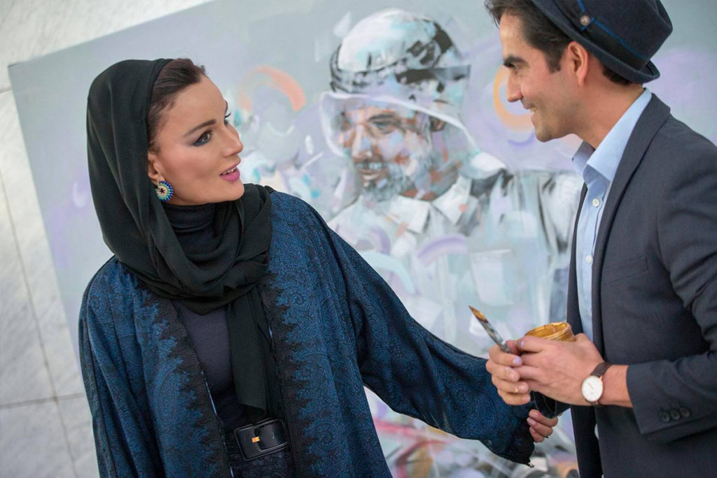 Her highness Sheikha Moza Painting with Dairo Vargas
